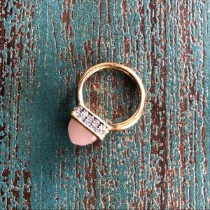 Juicy Couture Pink Pyramid Stone Gold Ring Size 7